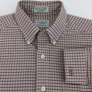 LL Bean Pink Burgundy Check Oxford Dress Shirt